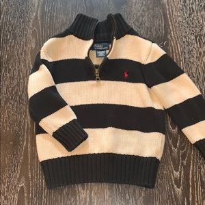 Polo half zip knit sweater